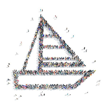 thrilling: A large group of people in the shape of boat, icon, isolated on white background, 3D illustration.
