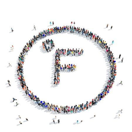 sponsorship: A large group of people in the shape of sign Fahrenheit, weather, icon, isolated on white background, 3D illustration. Stock Photo