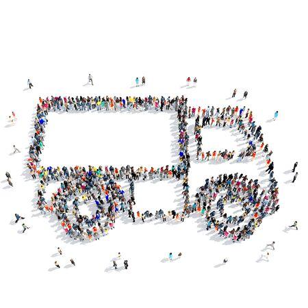 トラックのアイコン、白い背景、3 D イラストレーションの分離という形で人々 の大規模なグループ。