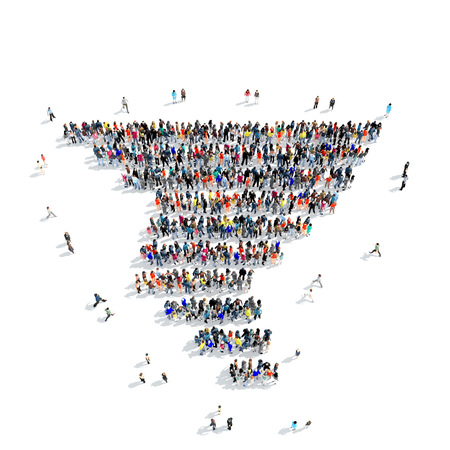 wet t shirt: A large group of people in the shape of a typhoon, weather, icon, isolated on white background, 3D illustration.