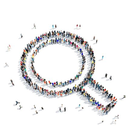 magnifying glass icon: A large group of people in the shape of a magnifying glass icon, isolated on white background, 3D illustration.