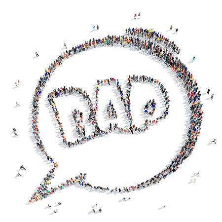 bap: A large group of people in the shape of an bap  , pop art, retro, cartoon, icon, isolated on white background, 3D illustration.