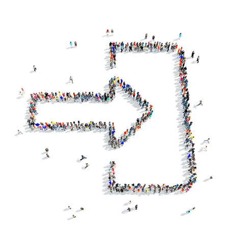 A large group of people in the shape of input, icon, isolated on white background, 3D illustration.