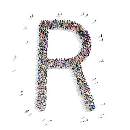 Un grand groupe de personnes en forme de lettre, alphabet R icône, isolé sur fond blanc, illustration 3D. Banque d'images - 53044318