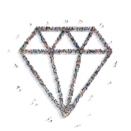 priceless: A large group of people in the shape of a diamond on a white background, 3D. Stock Photo