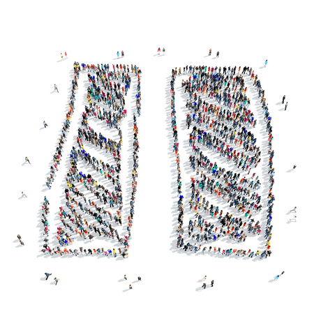 in common: A large group of people in the shape of a pause, icon, isolated on white background, 3D illustration.