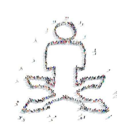 group direction: A large group of people in the shape of man, direction, arrows, icon, isolated on white background, 3D illustration.