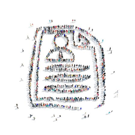 whose: A large group of people in the shape of a questionnaire,  icon, isolated on white background, 3D illustration.