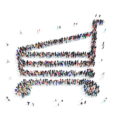 brim: A large group of people in the shape of a grocery cart, icon, isolated on white background, 3D illustration.