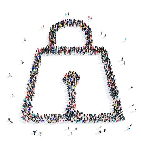 internet safety: A large group of people in the shape of a lock icon, isolated on white background, 3D illustration. Stock Photo