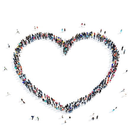 passion  ecology: A large group of people in the shape of a  heart icon, isolated on white background, 3D illustration.