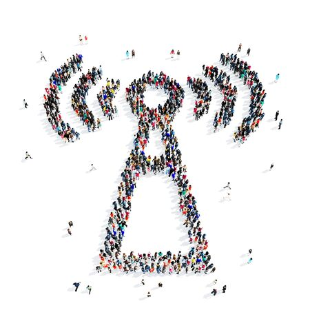 wi fi icon: A large group of people in the shape of Wi fi, icon, isolated on white background, 3D illustration. Stock Photo