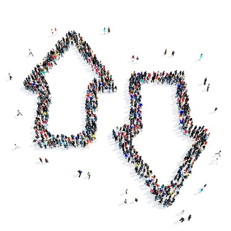 group direction: A large group of people in the shape of arrows, direction, icon, isolated on white background, 3D illustration.