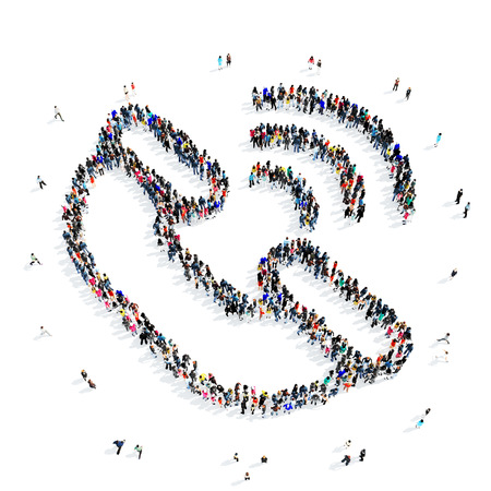 touch base: A large group of people in the shape of a handset, communication, icon, isolated on white background, 3D illustration. Stock Photo