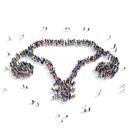 female reproductive system: A large group of people in the shape of female reproductive system, medicine, icon, isolated on white background, 3D illustration.