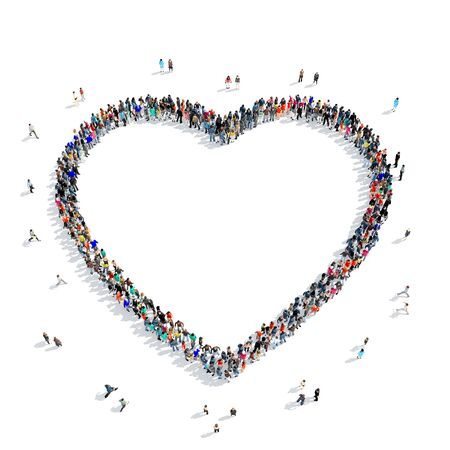 participate: A large group of people in the shape of heart, icon, isolated on white background, 3D illustration.