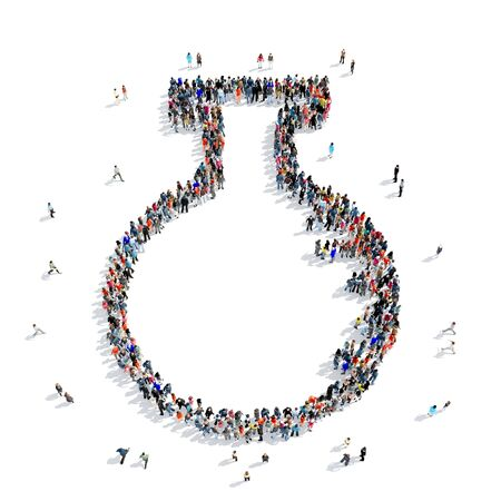 creation of sites: A large group of people in the shape of a bulb, medicine, icon, isolated on white background, 3D illustration.