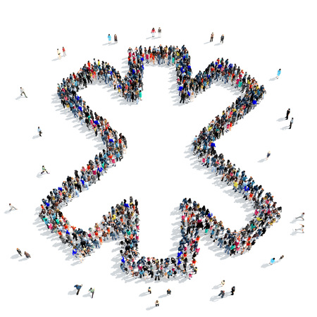 A large group of people in the shape of a medical sign, icon, isolated on white background, 3D illustration. Stock Photo