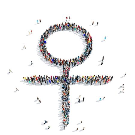 female symbol: A large group of people in the shape of a female symbol, icon, isolated on white background, 3D illustration.