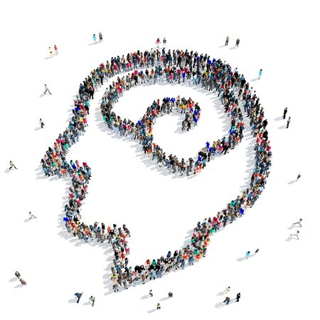 concentration gear: A large group of people in the shape of the head, the brain, the icon, isolated on white background, 3D illustration.