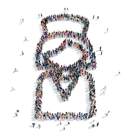 group icon: A large group of people in the shape of a nurse, medicine, icon, isolated on white background, 3D illustration.