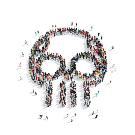 large skull: A large group of people in the shape of a skull isolated on white background, 3D illustration.