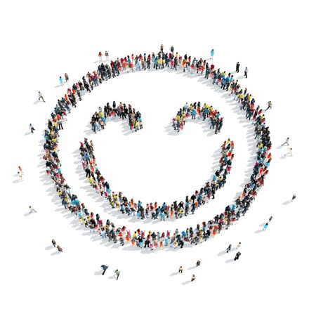 glass art: A large group of people in the shape of a smiley face icon, isolated on white background, 3D illustration.