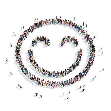 lachendes gesicht: Eine große Gruppe von Menschen in der Form eines Smiley-Symbol, isoliert auf weißem Hintergrund, 3D-Darstellung.