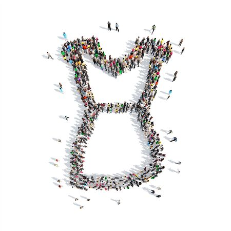cleavage: A large group of people in the shape of the dress. Isolated, white background.