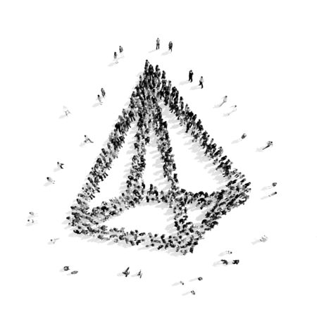 multi level: A group of people in the shape of a pyramid, a flash mob.3D illustration.black and white Stock Photo