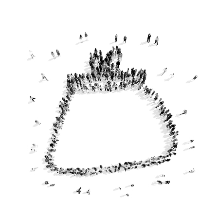 bussines people: A group of people in the shape of a purse, shopping, flash mob.3D illustration.black and white
