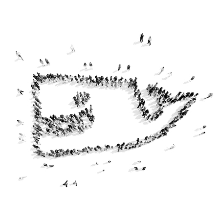 seamaid: A group of people in the shape of a whale, cartoon, flash mob.3D illustration.black and white