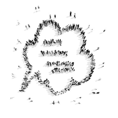 buble: A group of people in the shape of a buble chat , a flashmob.3D illustration.black and white Stock Photo