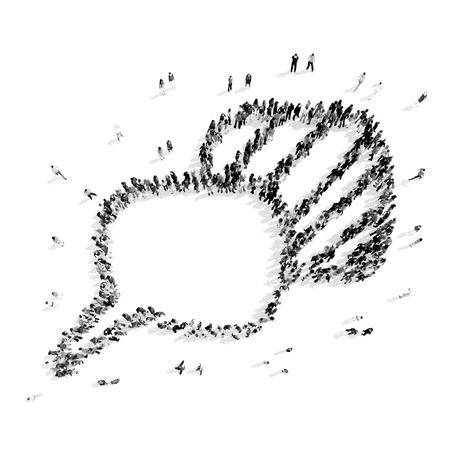 suggestions: A group of people in the shape of a buble chat, a flash mob.3D illustration.black and white