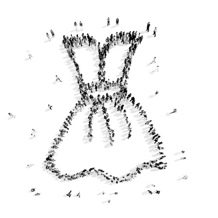 A group of people in the shape of dress , clothes, a flash mob.3D illustration.black and white