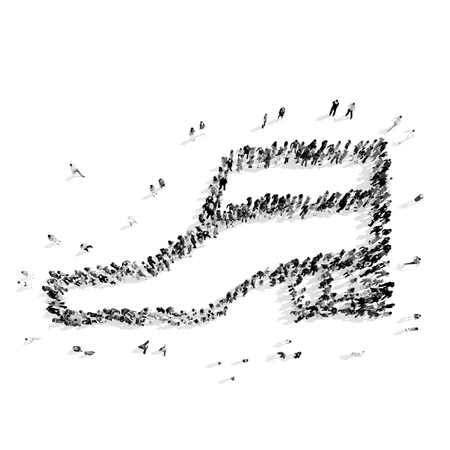 young woman legs up: A group of people in the shape of shoe, a flash mob.3D illustration.black and white Stock Photo