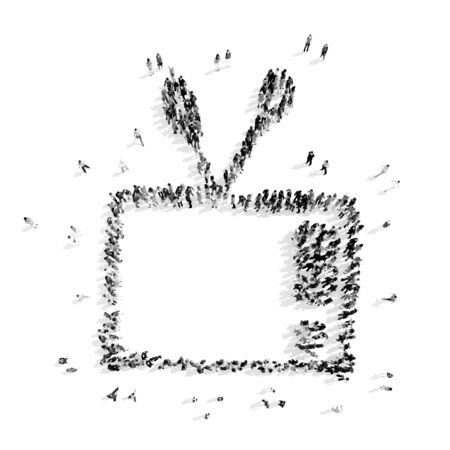 man looking out: A group of people in the shape of television, cartoon, flash mob.3D illustration.black and white