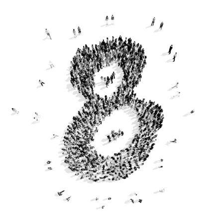 number of people: A group of people in the shape of number eight, cartoon, flash mob.3D illustration.black and white