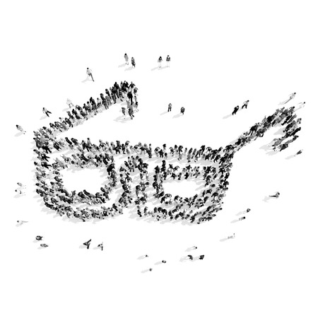skidding: A group of people in the shape of glasses item, film, flash mob.3D illustration.black and white Stock Photo
