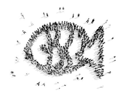 fishing boats: A group of people in the form of a fish, a flash mob.3D illustration.black and white