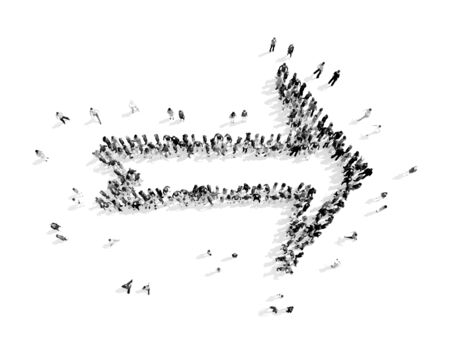 phonographic: A group of people in the shape of an arrow, a flash mob.3D illustration.black and white
