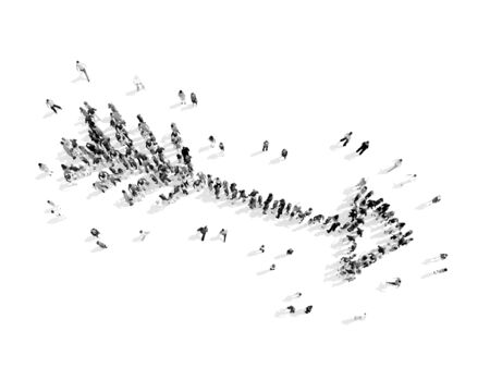 A group of people in the shape of an arrow, a flash mob.3D illustration.black and white