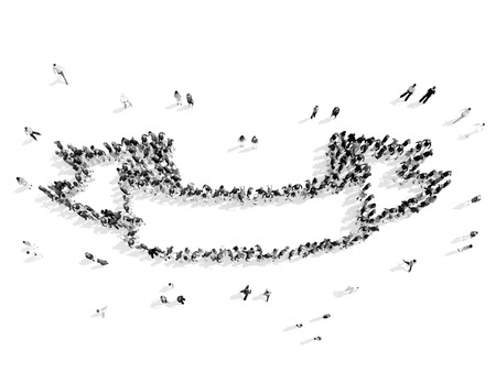 friend chart: A group of people in the shape of ribbons, flash mob.3D illustration.black and white Stock Photo