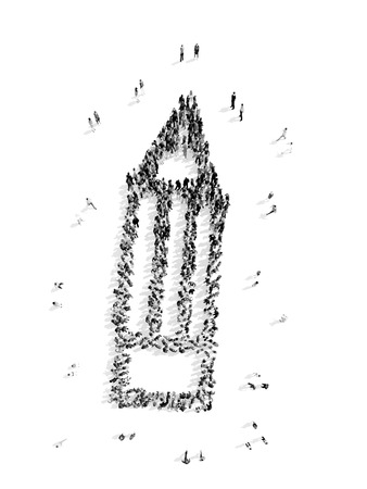 multi cultural: A group of people in the shape of a pencil, a flash mob.3D illustration.black and white