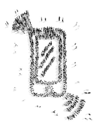 'one woman only': A group of people in the form of a mobile phone, a flash mob.3D illustration.black and white