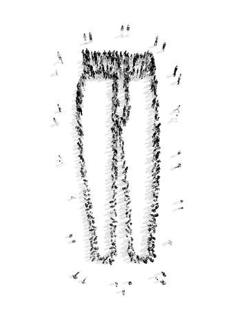 pecks: A group of people in the form of pants, a flash mob.3D illustration.black and white