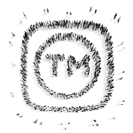trade mark: A group of people in the shape of a trade mark, a flash mob.3D illustration.black and white Stock Photo