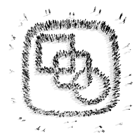 group icon: A group of people in the form of an abstract symbol , flash mob.3D illustration.black and white