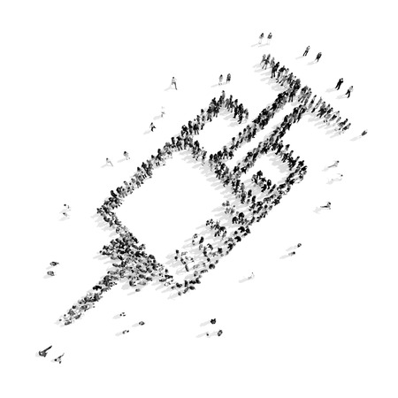 plump lips: A group of people in the shape of a syringe, medicine, flash mob.3D illustration.black and white Stock Photo