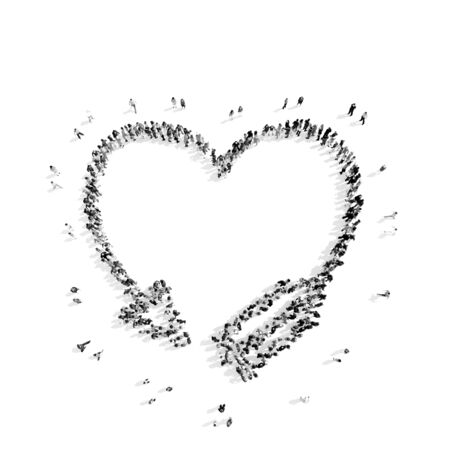 duration: A group of people in the shape of heart, cardio, flash mob.3D illustration.black and white